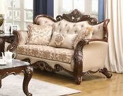 Traditional Button Tuffed Antique Loveseat 1pc Living Room Furniture Set