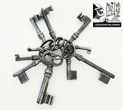 Lot Of 10 Locks, Keys Skeleton In Solid Iron Forged Old Keys Antique Decade 1900