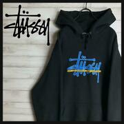 Ultra Rare Model Stussy Hoodie Front Logo Big Size Beautiful Goods_a66