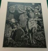 1910 The Coming Mission Bible Print William Holman Hunt Jesus Christ With Mary