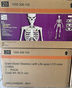 12 Ft Foot Giant Skeleton W/ Animated Lcd Eyes Halloween Prop Home Depot So Cal