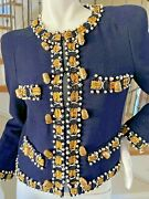 Moschino Important Vintage 80and039s Sewing Kit Embellished Blue Boucle Jacket
