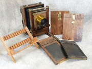 Wet Plate Collodion Korona 4x5 Large Format Camera Outfit W/ Brass Lens