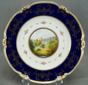 Royal Crown Derby Hand Painted W Mosley Haddon Hall Pink Roses Cobalt Gold Plate