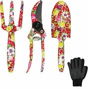 Garden Tool Set - 3 Piece Thickly Cast Aluminum Gardening Tools Kit With Floral