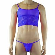 Mens Kristy Sexy Lace Camisole Top And Pouch G String Blue Plus Other Colours