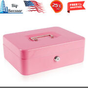 Large Metal Cash Box With Money Tray And Lockmoney Box With Cash Tray New