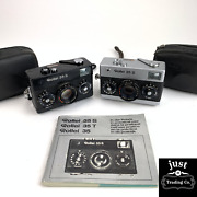 Vintage Set Of Rollei 35s Cameras Blank + Silver 40mm 2.8 Lens W/straps + Manual