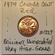 1974 Brilliant Red Uncirculated Very High-grade Canada Cent Canadian Penny