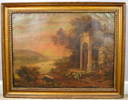Oil Painting Landscape 19th C 1800s Very Detailed Farmers Herders Antique 26x19