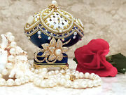 Unique Gift Blue Gold Faberge Egg Jewelry Box Pearl Necklace Set Gift For Her Hm