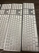Lot 4genuine Apple Wired Aluminum Usb Keyboard Numeric Silver Mb110ll/a A1243