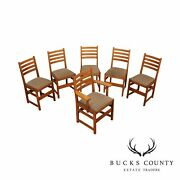 L. And J.g. Stickley Antique Mission Oak Set Of 6 Dining Chairs