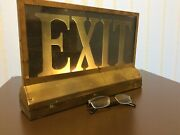 Antique Art Deco Nyc Broadway Theatre Lighted Exit Sign Brass Emergency Lamp