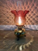 Stunning Antique Victorian Restored Brass Oil Lamp Cranberry Shade Electric Conv