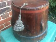 """Antique Signed C19th Chinese Oriental Asian Wooden Wedding Bucket Recepticle 13"""""""