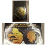 2017 1oz Spiderman With Black Ruthenium 24 Kt Gold Plated And Silver Coin Bu