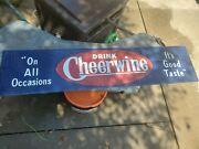 Vintage Drink Cheerwine Metal Sign 48andrdquox11andrdquo Preowned Blue Red White Embossed
