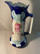 Antique Pitcher Flower Motif And Texture Finish Colorful