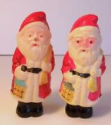 Pair Of Small Vintage Japanese Celluloid Santa Claus Figures