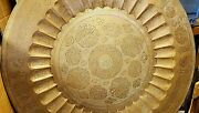 Islamic Arabic 95cm Very Large 9kg Hammer Engraved Brass Wall Hanging Table Tray
