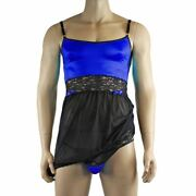 Mens Joanne Sexy Lingerie Nightwear Chemise With G String - Sizes Up To 3xl Blu