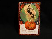 Rare. Winsch Halloween Postcard-witch Over Jol W/red Imps For Company