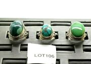 3 Big Mens Turquoise Sterling Silver 925 Ring 56g Lot106