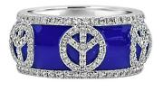 1.40ct Diamond And Blue Enamel 18k White Gold Peace Sign Eternity Anniversary Ring