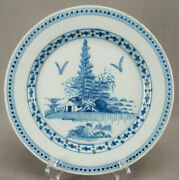 London Delft Chinoiserie Landscape House Trees And Rocks Plate Circa 1760s