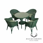 Lloyd Flanders Green Wicker 5 Piece Round Glass Top Table And Chairs Set