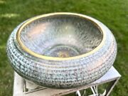Vintage Mcm Stangl Pottery Turquoise Gold Planter Ufo Saucer Shallow Bowl 3993
