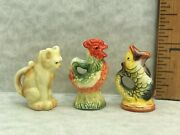 3 Majolica Animal Pitchers Fish Cat Rooster French Feves Dollhouse Miniatures