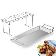 Foldable Chicken Leg And Wing Rack Grill Stand Bbq Grill With Drip Pan Camping