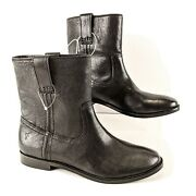 Frye Leather Boots Womens Size 7 M Anna Leather Shortie Boot Black Gift 498 New