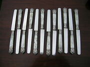Hallmarked Antique French Silver Set Of 12 Table Knives Mop Handles. La Vienne
