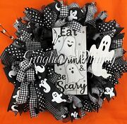 Eat, Drink And Be Scary Ghosts Wreath - 24 - Adult Halloween, Black And White