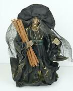 Halloween Green Witch Tree Topper Paper 10 Tall Holding Sticks