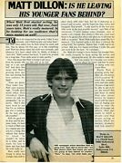Matt Dillon Pinup Clipping From A Magazine 80's Is He Leaving His Younger Fans