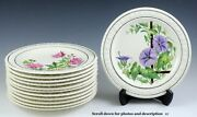 12 Pc Wedgwood Hand Painted English Flower Porcelain Plates By A.j. Birks