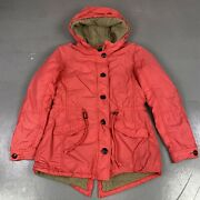 Stile Benetton Red Teddy Lined Red Hooded Warm Winter Coat With Waist Tie