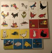 1959 Wood Lotto Creative Playthings Match Game Incomplete Lot Of 24 Tile Blocks