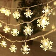 Christmas Lights20and039-40and039 Led Snowflake String Lights Battery Operated Waterproof