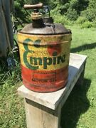 Vintage Empire Motor Oil 5 Gallon Gas Can Wolfs Head Wood Handle