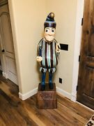 Mr Punch Clown 6 Foot Statue Carved Wooden Cigar Store Indian Sculpture