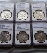 1934 Double Die Peace Dollars 6 Ngc Certified Different Grades. Beautiful