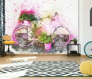 3d Watercolor Bicycle A723 Transport Wallpaper Mural Self-adhesive Removable Amy