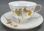 Ph Leonard Limoges Hand Painted Pink And Blue Floral And Gold Demitasse Cup And Saucer