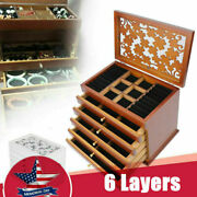 6 Layer Wooden Jewelry Boxes With Carved Flowers Lids Antique Foldable Storage