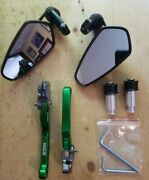 Mzs Motorcycle Black Rear View Side Mirrors And Green Brake Clutch Lever Set - New